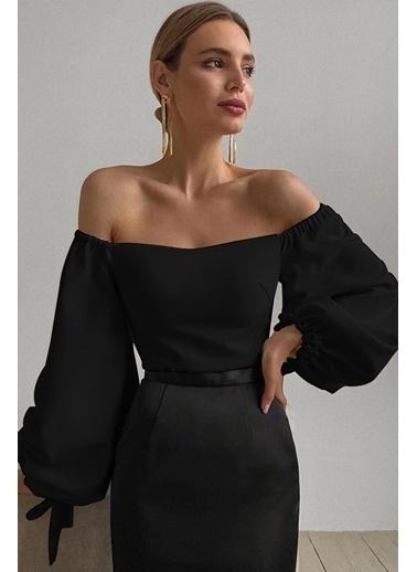 BLACK&GRACE Kadın Siyah Çift Balon Kollu Bluz Siyah